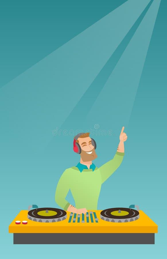 discjockey som blandar musik på skivtallrikarna vektor illustrationer