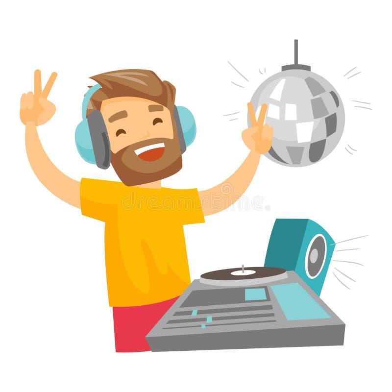 discjockey som blandar musik på skivtallrikvektorillustration vektor illustrationer