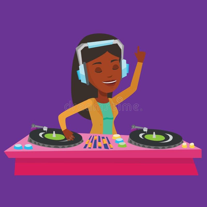 discjockey som blandar musik på skivtallrikvektorillustration royaltyfri illustrationer