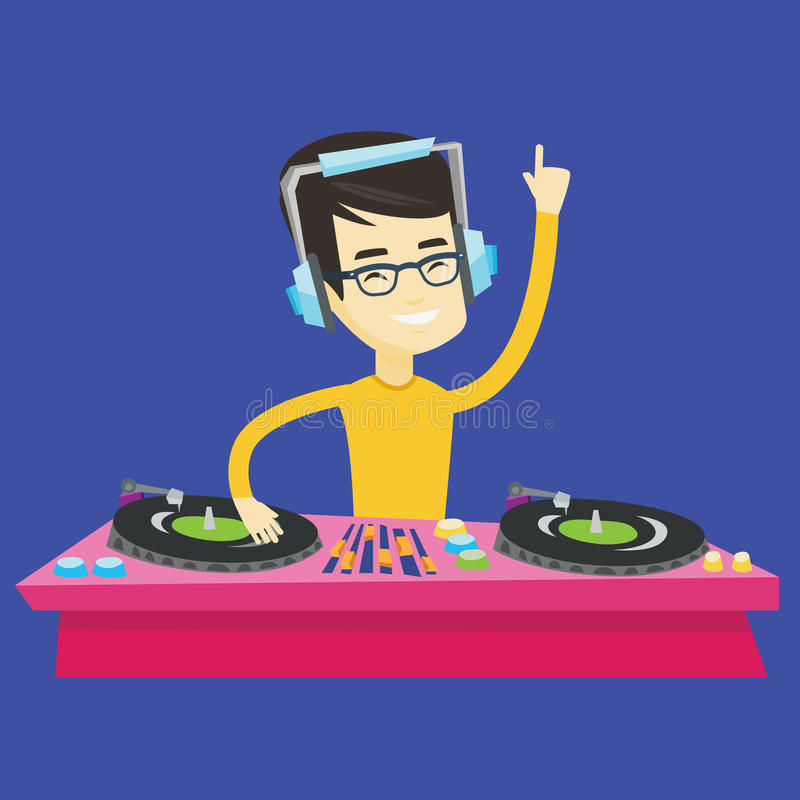 discjockey som blandar musik på skivtallrikvektorillustration stock illustrationer