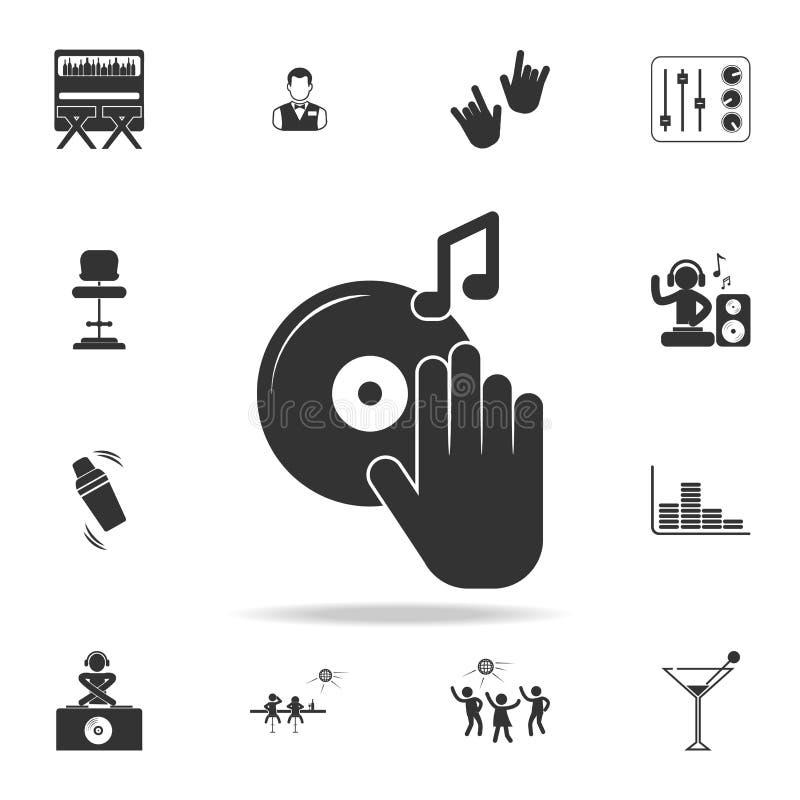 discjockeyskivtallrikskivspelare med handsymbolen Detaljerad uppsättning av nattklubb- och diskosymboler Högvärdig kvalitets- gra stock illustrationer