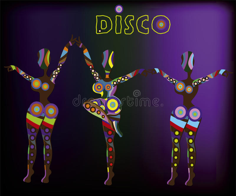 Disco. Abstract people from different elements of dance funny dances royalty free illustration