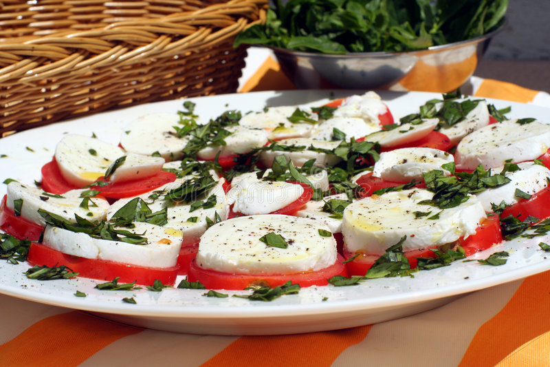 Disco 2 de la comida campestre de Bocconcini fotografía de archivo libre de regalías