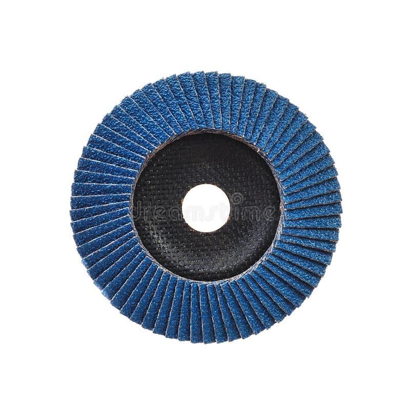 Disco abrasivo para la amoladora aislada en blanco foto de archivo