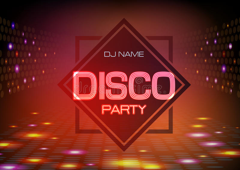 Disco abstract background. Neon sign Disco party poster. Disco abstract background. Neon sign Disco party royalty free illustration