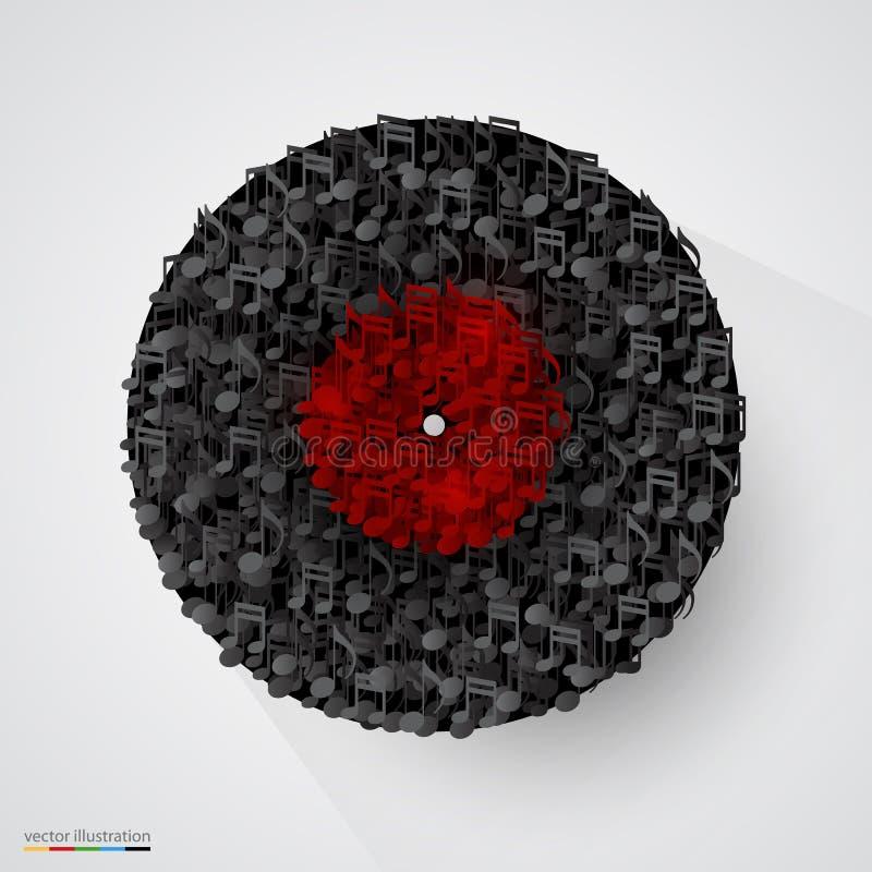 Disco abstracto del vinilo hecho de notas Vector stock de ilustración