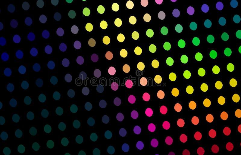 Disco achtergrondsamenvatting Op zwarte decoratie heldere punten Geelgroen rood purper mozaïekpatroon vector illustratie