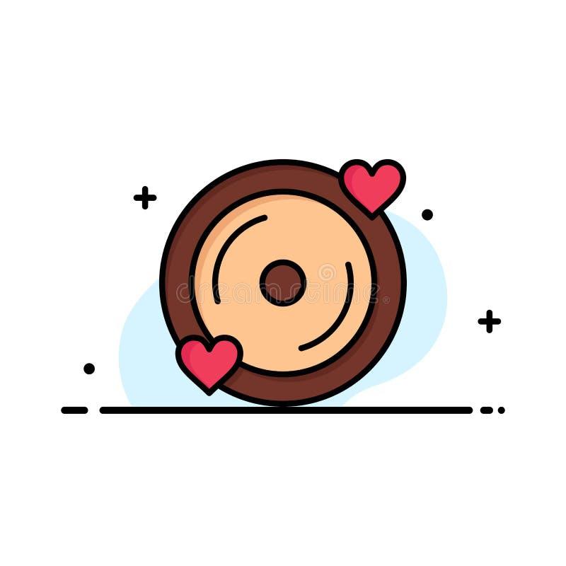 Disco, amore, cuore, affare Logo Template di nozze colore piano illustrazione di stock