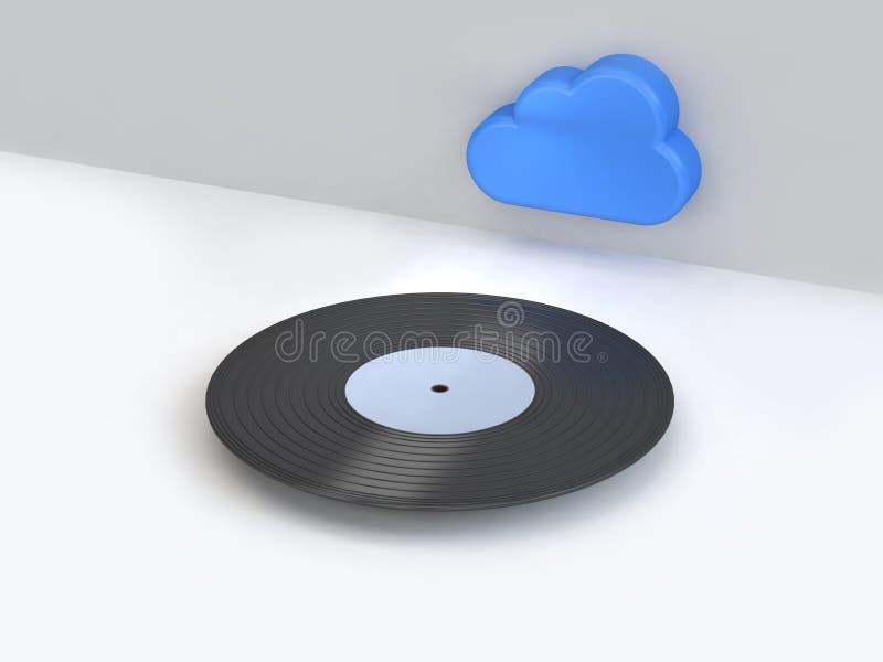 Disco-annotazione bianca astratta del vinile di scena con stile minimo 3d del fumetto dell'icona blu della nuvola rendere Interne illustrazione vettoriale