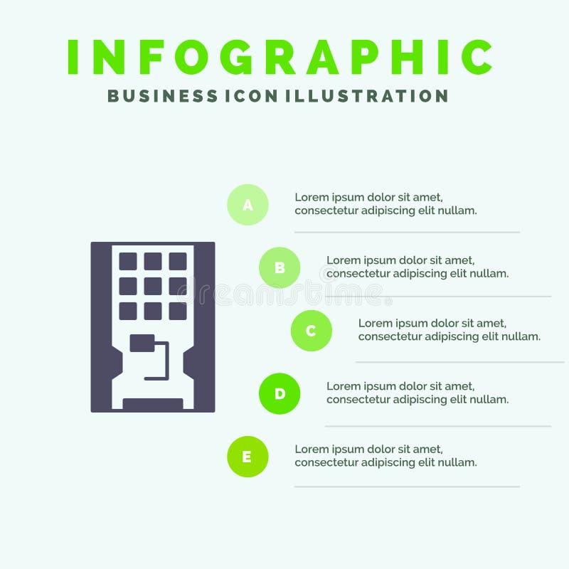 Disco, azionamento, hardware, solido, fondo solido di presentazione di punti di Infographics 5 dell'icona dello SSD illustrazione vettoriale