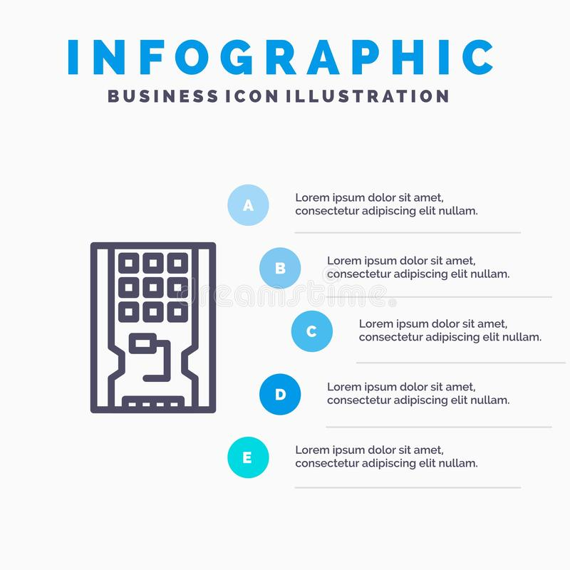Disco, azionamento, hardware, solido, linea icona dello SSD con il fondo di infographics di presentazione di 5 punti illustrazione vettoriale