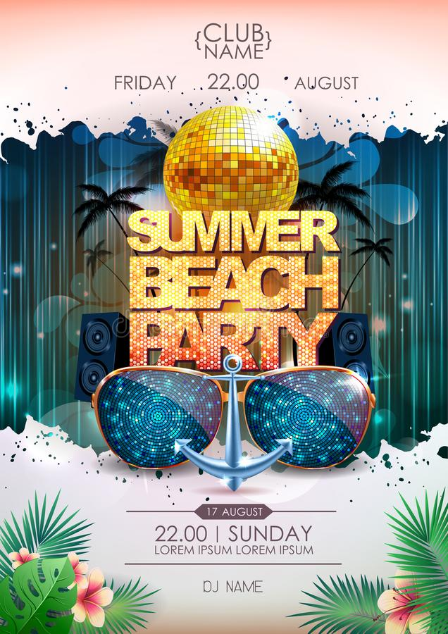 Disco background. Disco ball summer beach party poster. On neon background vector illustration