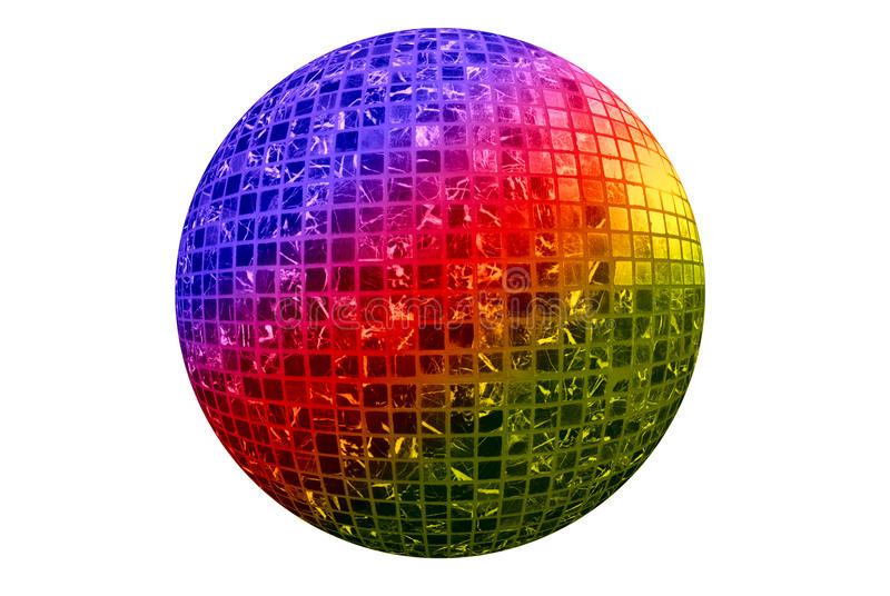 Disco ball. Color disco ball isolated on white background royalty free stock photos