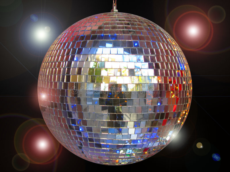 Disco ball. With sparkles isolated in black stock photo