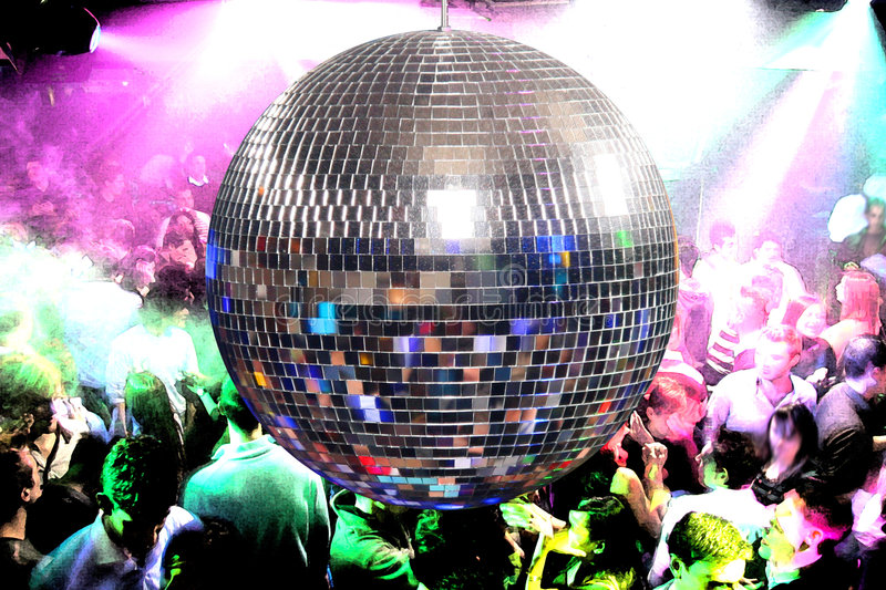 Disco Ball. And happy dancing people in a disco night club