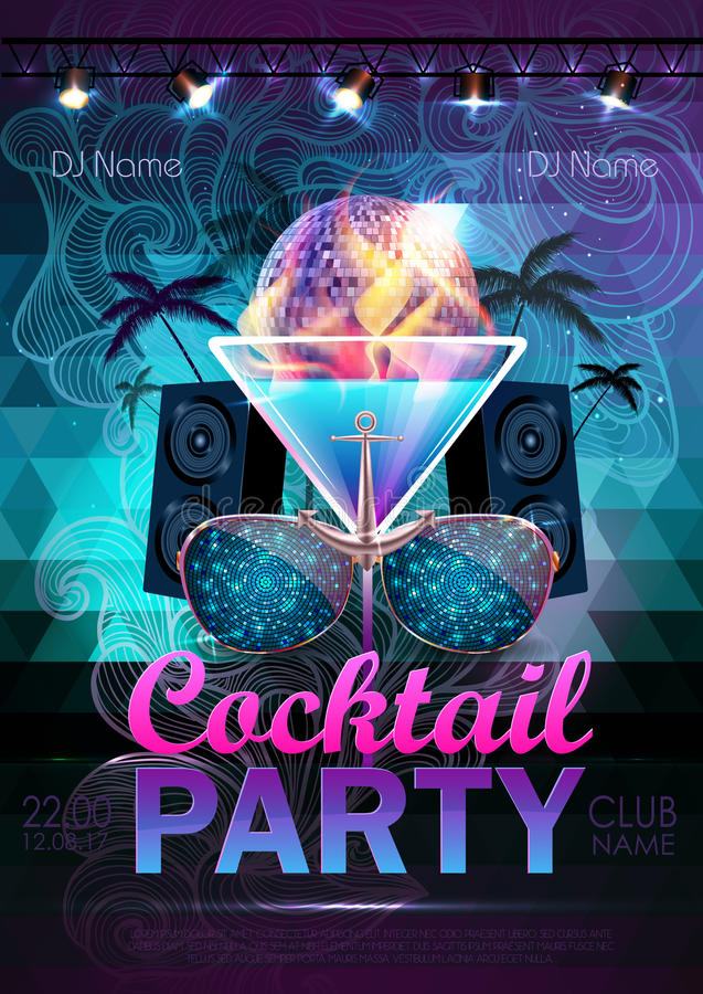 Disco ball background. Disco cocktail party poster on triangle b. Ackground stock illustration