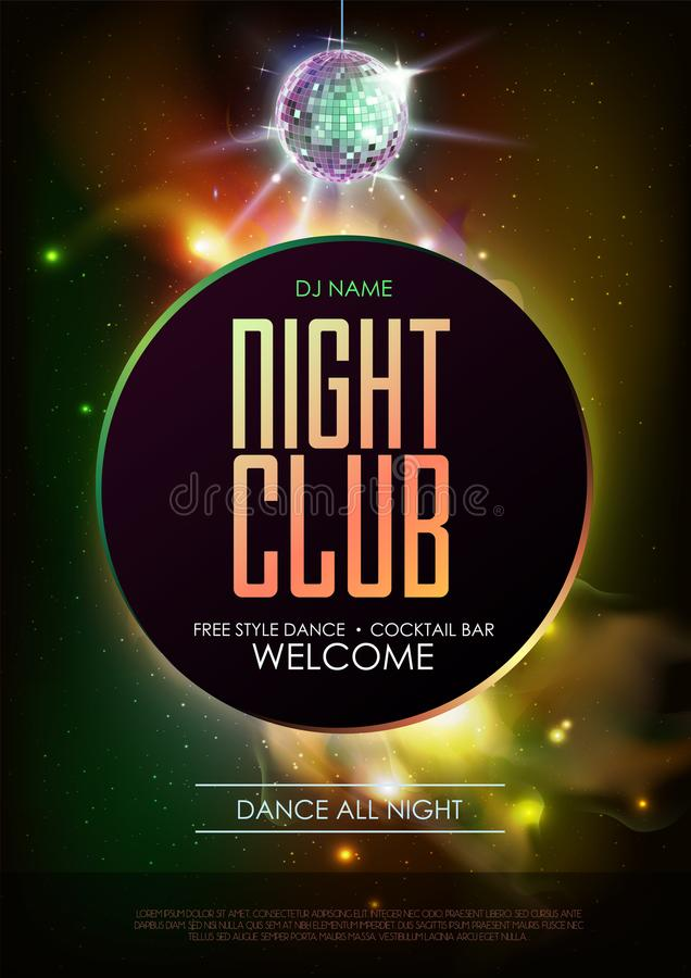 Disco ball background. Disco Night club party poster on open space background. Disco ball background. Disco party poster on open space background. Night club vector illustration