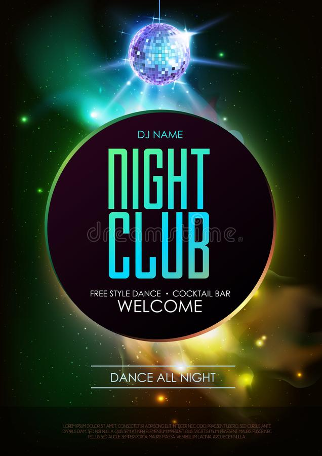 Disco ball background. Disco Night club party poster on open space background. Disco ball background. Disco party poster on open space background. Night club royalty free illustration