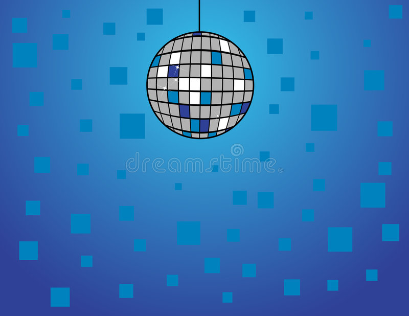 Disco Ball on Blue. Illustration of a disco ball on a blue background royalty free illustration