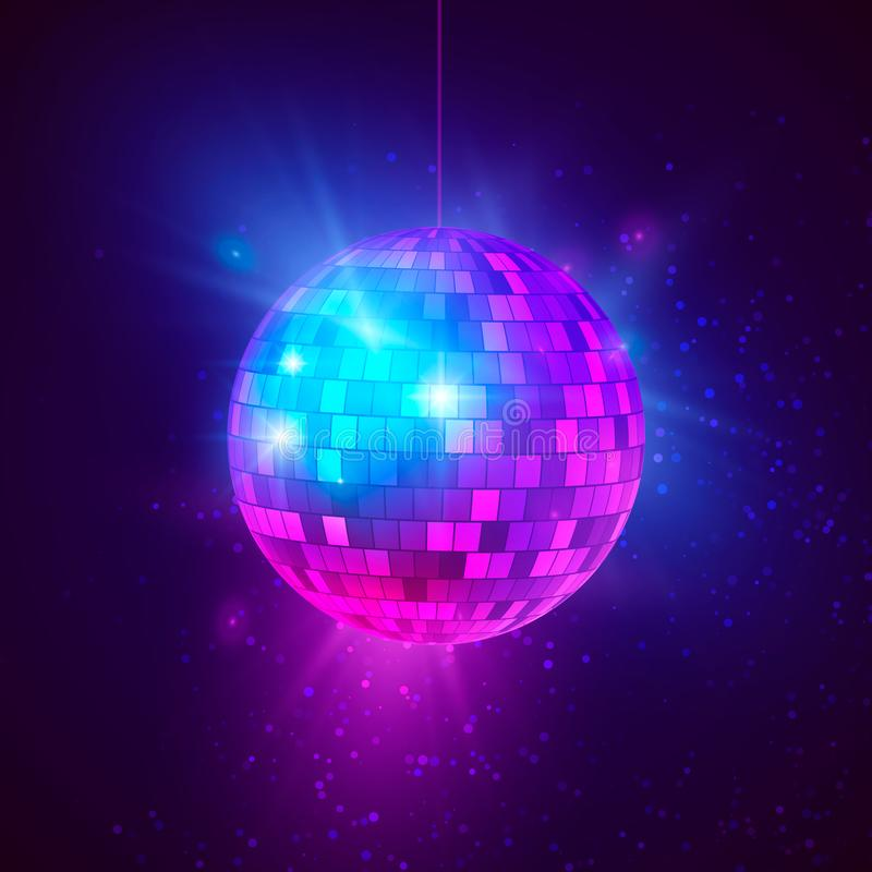 Disco ball with bright rays and bokeh. Music and dance night party background. Abstract night club retro background 80s and 90s royalty free illustration