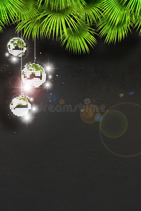 Disco ball with bright rays and highlights. Three disco balls against a black wall and palm leaves with free space for text. The concept of a disco or party in stock illustration