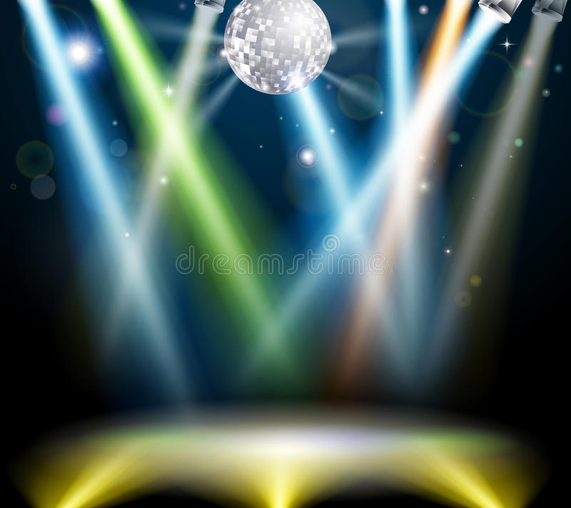 Disco ball dance floor. Illustration of a spotlit disco dance floor with mirror ball or disco ball stock illustration