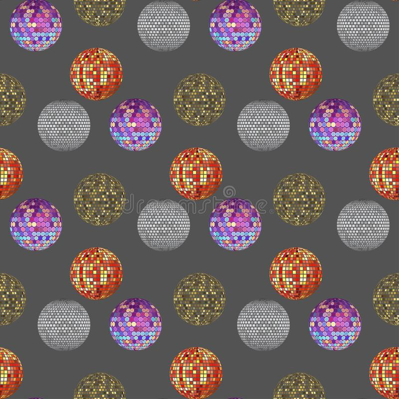 Disco ball discotheque music party night club dance equipment seamless pattern background vector illustration. royalty free illustration