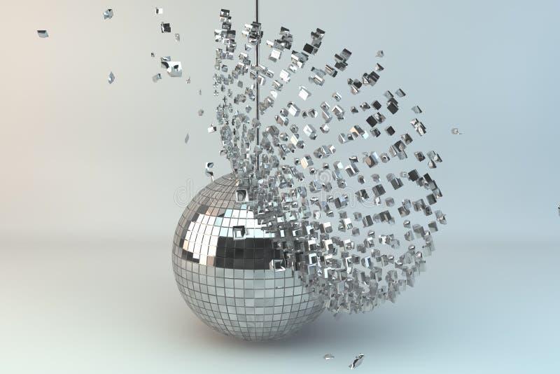 Disco ball exploding. In 3d stock illustration