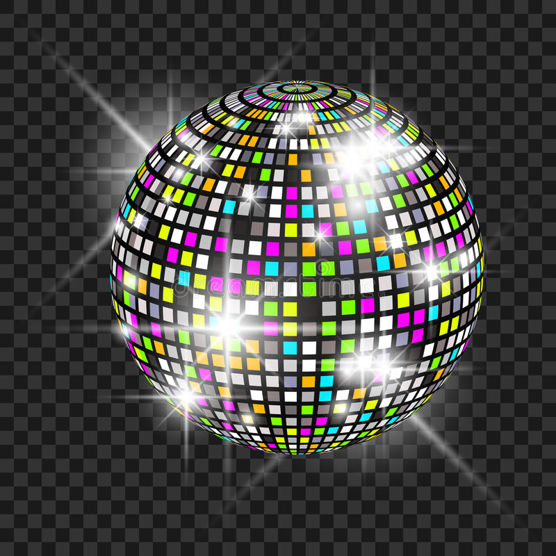 Disco ball with glow. Really transparency effect. Disco background. Template for your design vector illustration