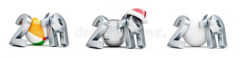 Disco ball, golf ball, beach ball new year santa hat 2019 set on a white background 3D illustration, 3D rendering. Disco ball, golf ball, beach ball new year stock illustration