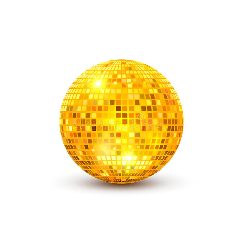 Disco ball illustration. Night Club party light element. Bright mirror golden ball design for disco dance club stock illustration