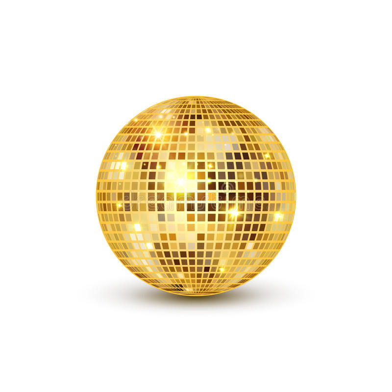 Disco ball isolated illustration. Night Club party light element. Bright mirror golden ball design for disco dance club stock illustration