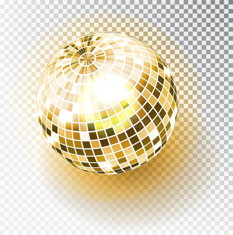 Disco ball isolated illustration. Night Club party light element. Bright mirror golden ball design for disco dance club vector illustration