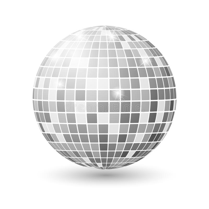 Disco ball isolated illustration. Night Club party light element. Bright mirror silver ball design for disco dance club. royalty free illustration