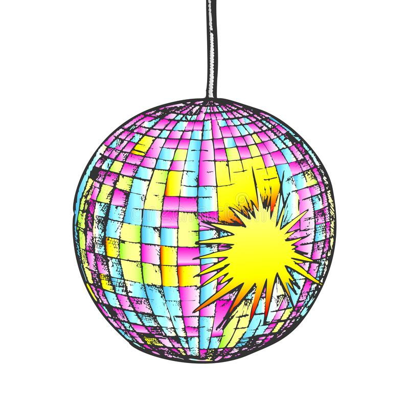 Disco Ball Night Club Equipment Color Vector stock image