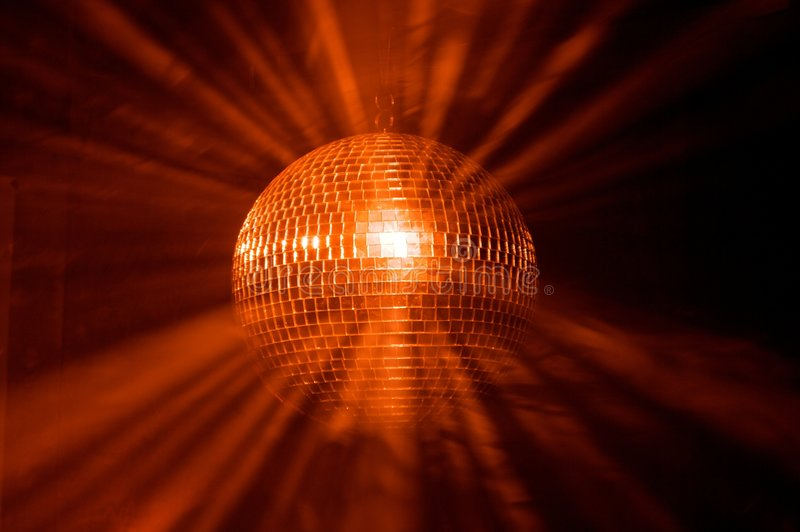 Disco ball with rays. In haze stock photo
