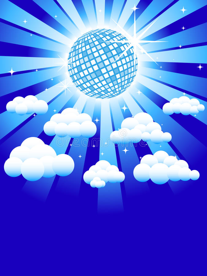 Disco heaven. Disco ball in the sky, surrounded by clouds and stars vector illustration