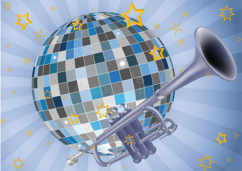 Disco ball trumpet and music. Instruments jazz vector illustration