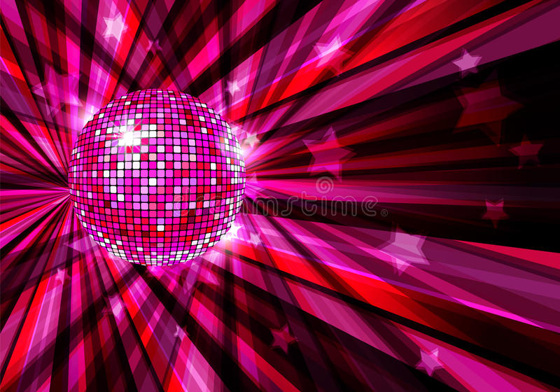 Disco Ball vector background with rays and stars royalty free illustration