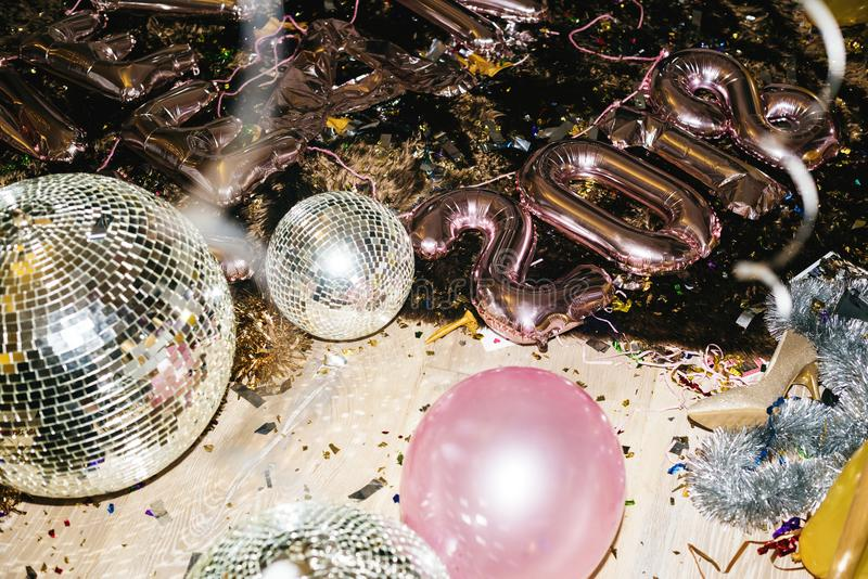 Disco balls in a party on the floor stock images