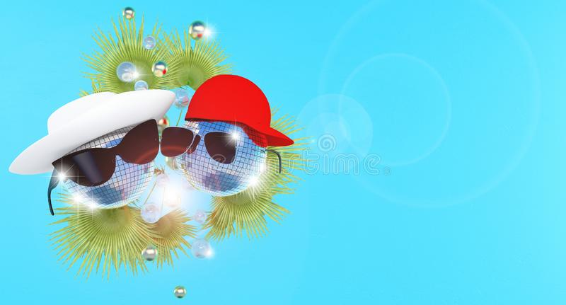 Disco balls in a white hat and a red baseball cap and sunglasses with highlights of light. vector illustration