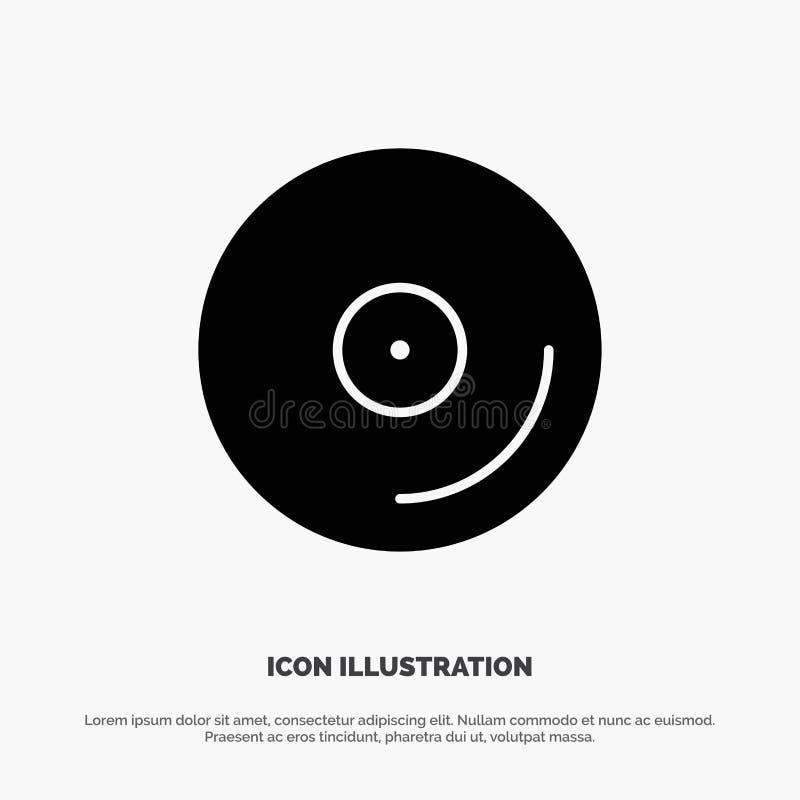 Disco, CD, media, vettore solido dell'icona di glifo del video illustrazione vettoriale