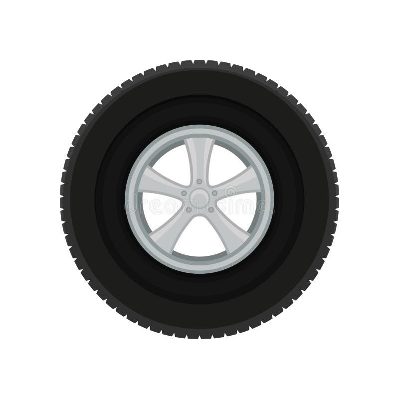 Disco cinzento do carro com o grande pneu preto Tema do automóvel Elemento liso do vetor para o cartaz ou a bandeira relativa à p ilustração royalty free