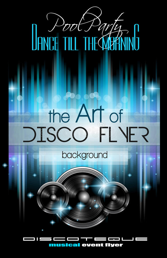Disco Club Flyer Template for your Music Nights Event. Ideal for TEchno Music, Hip Hop and House Performance Posters and flyers for Discotheques and night vector illustration