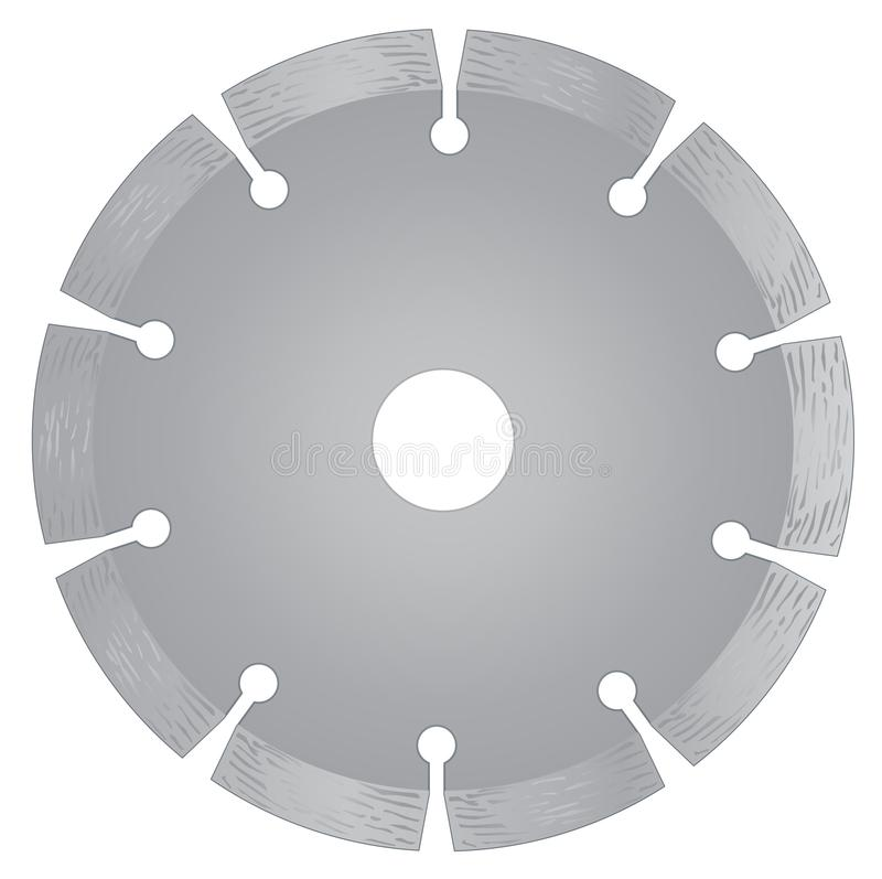 Disco com diamantes - disco do corte do diamante para o concreto no fundo branco ilustração royalty free