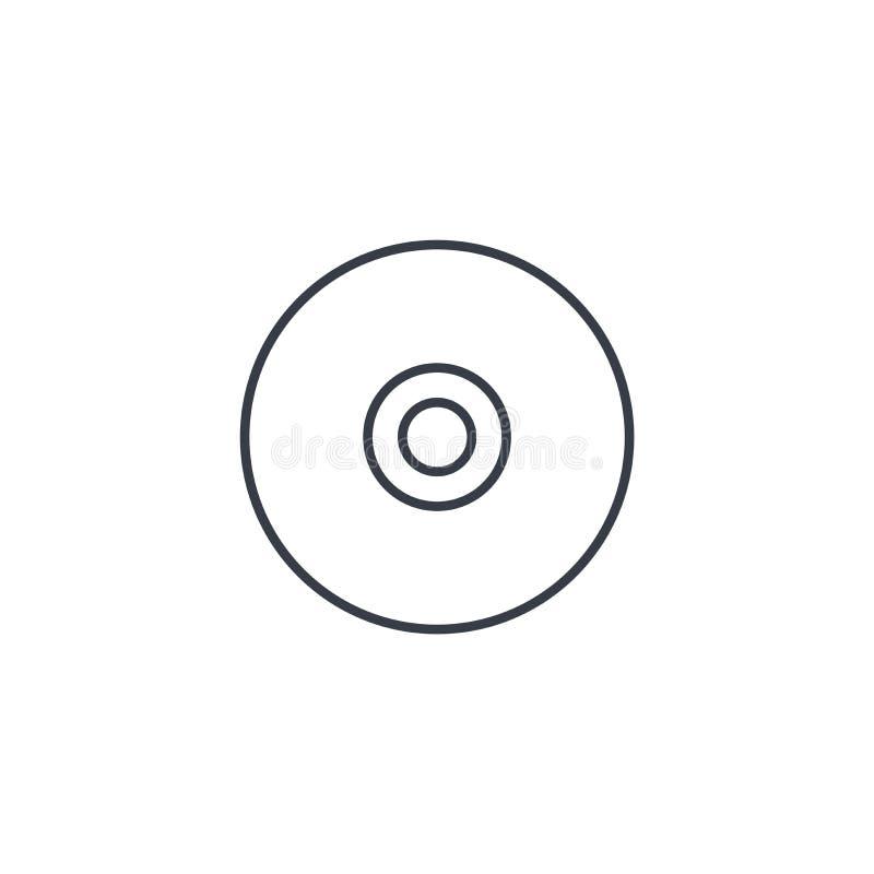 Disco compacto, línea fina CD icono Símbolo linear del vector libre illustration