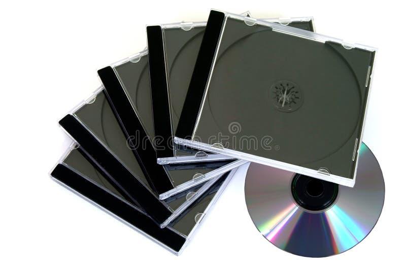 Disco compacto y casos fotos de archivo libres de regalías
