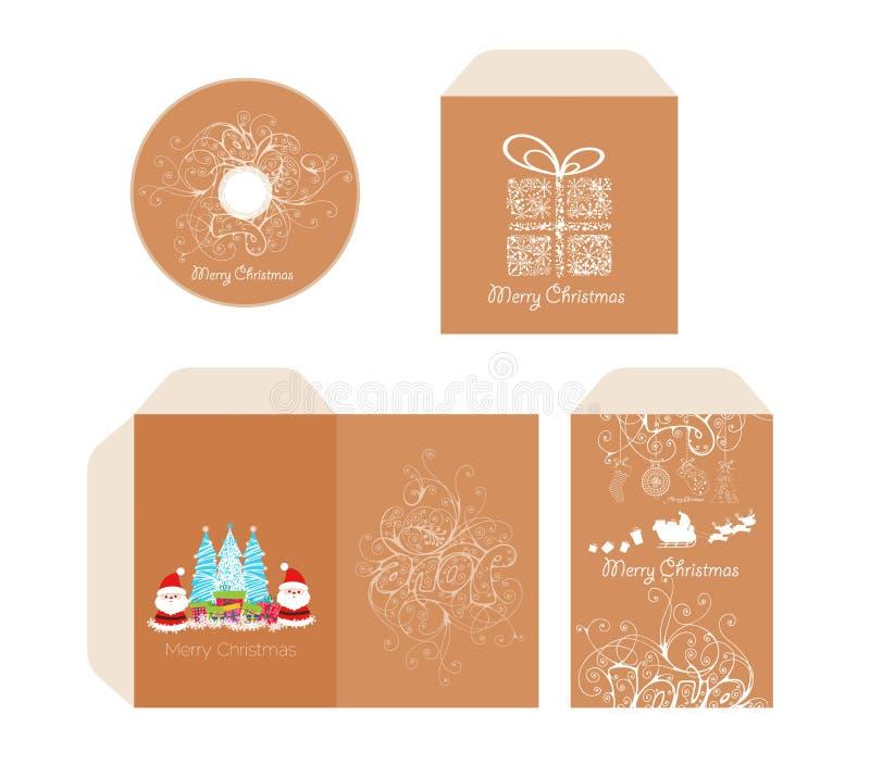 Disco con l'imballaggio, busta di Buon Natale di identità di marca retro illustrazione di stock