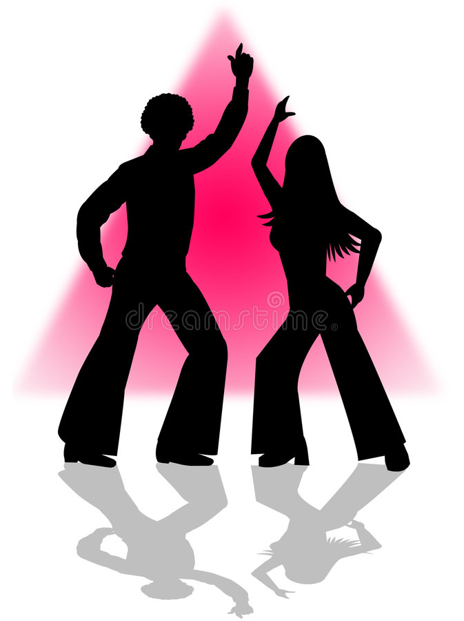 Disco Dance. Silhouette illustration of a retro disco dancing couple