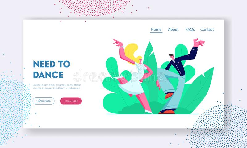Disco Dance Leisure or Hobby. Young Couple Dancing Outdoors, People Active Lifestyle, Happy Man and Woman Spend Time Together. Website Landing Page, Web Page stock illustration